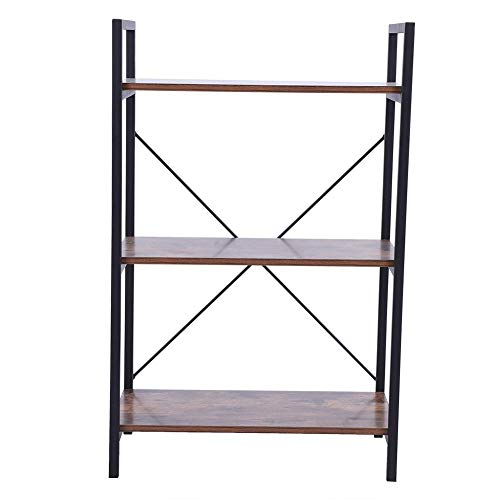 Yosoo 3-Tier Industrial Bookshel,Vintage Free Standing Sturdy Bookshelf, Iron Frame Storage Rack Holder Room Organizer for Home Office Collection(Dark Oak)