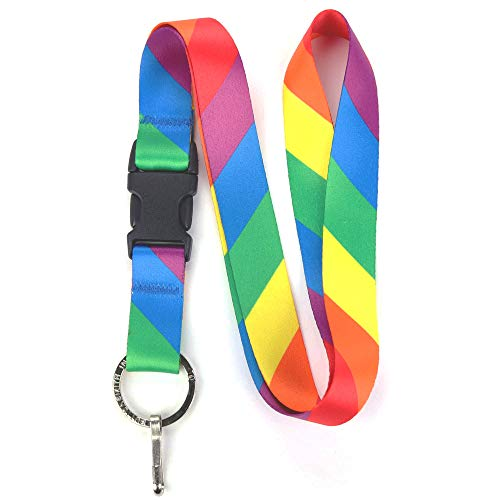 (Buttonsmith Rainbow Flag Premium Lanyard with Buckle and Flat Ring - Made in The USA)