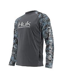 Huk Subphantis Double Header Vented Long Sleeve Shirt, Iron/SubPhantis Glacier, X-Large
