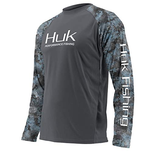 Huk Men's Double Header Vented Long Sleeve Shirt, Iron/SubPhantis Glacier, Medium (Fishing Brand Shirts)