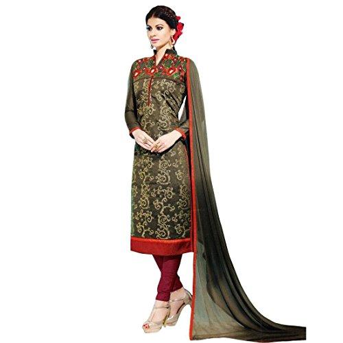 Designer Silk Embroidered Ready made Salwar Kameez Suit Indian – 0X, Brown