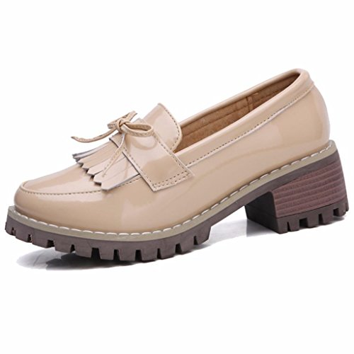 Moonwalker Women's Leather Block Heel Slip-On Moccasin with Fringe Beige