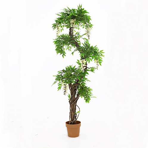 Vert Lifestyle Quality Artificial Japanese Fruticosa Tree (Choose Colour Options: Green/Red/with Flowers) Replica Indoor Outdoor Office Topiary Tree Plant - 165cm Tall (Green with Flowers) (Is What Topiary Tree A)