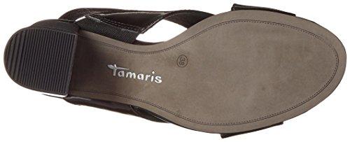 Tamaris 28395, Sandalias con Cuña para Mujer Negro (Black Pat. Uni 080)