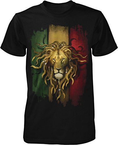 Rasta Lion, Rastafarian Lion, Lion Dreds Men's T-shirt, NOFO Clothing Co. XL ()