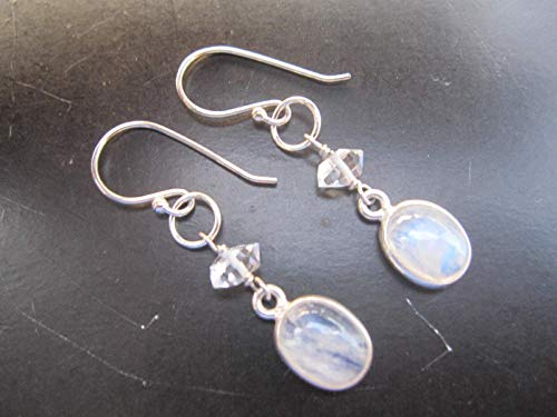 Oval Rainbow Moonstone,Herkimer Diamond Quartz Jewelry 925 Sterling Silver Earrings,Drop Length 3.8 cm,EMRH2 (Earrings Diamond Moonstone)