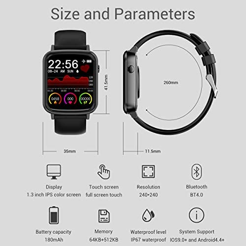 2020 CEGAR Fitness Tracker, Smart Watch with Heart Rate, Ip68 Waterproof Bluetooth Smartwatch for Android iOS Phone, Sleep Tracking Calorie Counter,Pedometer for Women Men (Black) 41rEikiFDjL