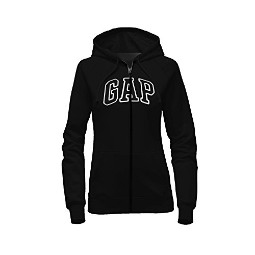 GAP Women's Full Zip Fleece Logo Hoodie (X-Small, Black) ()