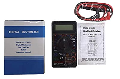 ProTechTrader Basic and Large Screen Digital Multimeter - Voltage (Volt), Resistance (Ohm), Current (Amp), Transistor (hFE), Square Wave, Diode & Audible Continuity Tester with Buzzer