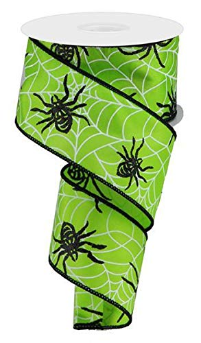 - Spiders & Webs on Satin Wired Edge Ribbon, 10 Yards (Lime Green, 2.5