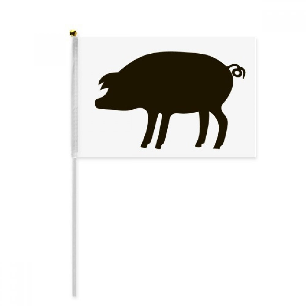 Black Pig Animal Portrayal Hand Waving Flag 8x5 inch Polyester Sport Event Procession Parade 4pcs