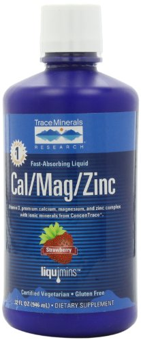 Trace Minerals Research Cal / Mag / Zinc, Fraise, 32-once