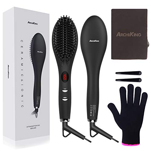 Hair Straightening Brush 2.0, ARCHIKING Ceramic Ionic Hair Straightener Brush with Double Anion Anti-scald Fast Heating Electric Auto Shut Off Dual-Voltage Perfect for Travel -