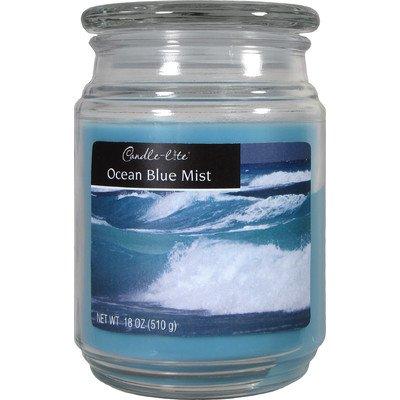 Blue Fragranced Pillar Candles - Candle-Lite Ocean Blue Mist Jar Candle [Set of 4]