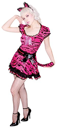 Pin Up Cat Costume (Living Fiction Sexy Pinup Tiger 2pc Women Costume, Pink, Small 6-8)