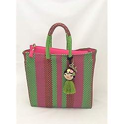 Bolsa Artesanal Mexicana tejida a mano incluye funda para iPad, en colores verde limón con rosa mexicano y rojo, incluye adorno de frida kahlo
