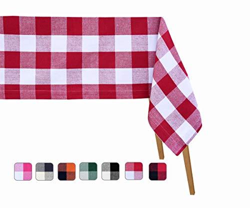 Buffalo Checked Tablecloth - Cotton Tablecloths - Checked Tablecloths - Red and White Plaid Tablecloth - Buffalo Tablecloth Rectangle - Buffalo Plaid Table Cloth (63 X 126), Checked (Red and White) ()