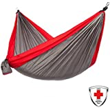Made With KISH Bug Repellent Just Relax Double Portable Lightweight Camping Hammock, 10.6x6.6 Feet (Grey-Red)