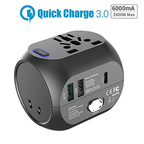 Universal International Travel Adapter, UPPEL All in One QC 3.0 Electrical Power Adapter Ports Converter 5V 6A 30W USB Type-C Wall Charger, AC Outlet Plug Adapters for Europe, UK, US, AU, Asia,Italy