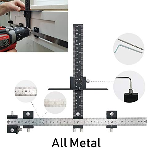 (Valiant Cabinet Hardware Jig | Drawer Knobs and Pulls Template Tool for Drilling Holes on Wood | Adjustable Drill Guide Tools for Doweling, Boring and Mounting Door Handles | Made All from Aluminum)