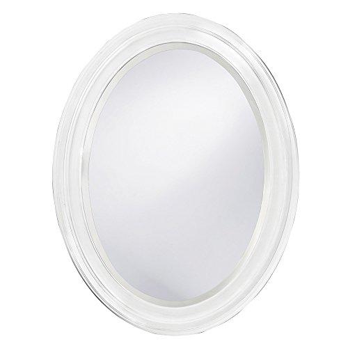 Howard Elliott George Oval Wood Framed Wall Vanity Mirror, Matte White, - Edge Rough Mirrors Bathroom