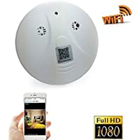 Camera WiFi Spy Camera Smoke Detector Pinhole Hidden Camera ip wifi camera for home security Surveillance Support IOS Android Smartphone APP(a Free 8G Micro SD Card)