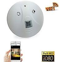 Camera WiFi Spy Camera Smoke Detector Pinhole Hidden Camera ip wifi camera for home security Surveillance Support IOS Android Smartphone APP(a Free 8G Micro SD Card)