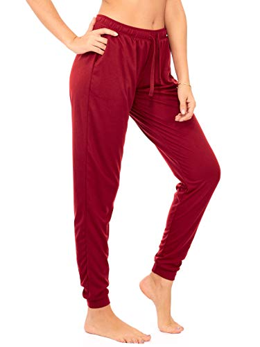 (DEAR SPARKLE Jogger with Pockets for Women Drawstring Lightweight Sweats Yoga Lounge Pants + Plus Size (P7) (Wine, Small))
