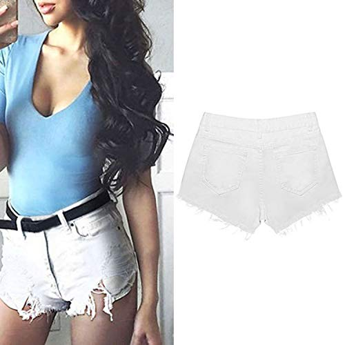 Casual Bags Shorts Fashion Cotton Denim Shorts Women Sexy Hole White Frayed LOKOUOs high Waist Short Jeans,White,S by LOKOUO Shorts