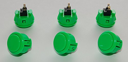 Price comparison product image 6 pc Set of Green Sanwa Push Buttons OBSF-30-G