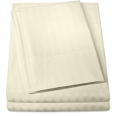 1500 Supreme Collection Dobby Striped Sateen 4 Piece Bed Sheet Set Deep Pocket - All Sizes, 23 Colors - Queen, Dobby Stripe Ivory