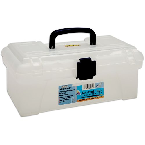 Pro-Art 12-Inch by 6-Inch by 5-Inch Translucent Art Box with Organizer Top, White and Navy Blue ()