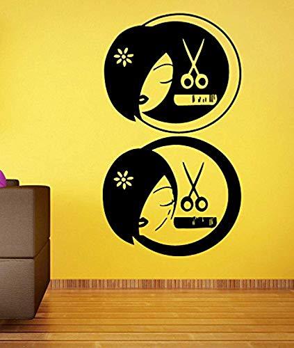 Sticker Decals Mural Room Design Decor Art Hair Salon Logo Girl Scissors Hairbrush Wall Vinyl SK1502