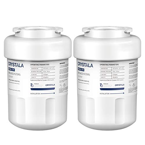 Crystala MWF Water Filters for GE Refrigerators, NSF 42 Certified GE Water Filter Replacement MWF, MWFP, MWFA, GWF, GWFA, SmartWater, FMG-1, Kenmore 46-9991 (2 Pack)