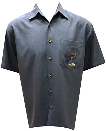 Bamboo Cay Warm Up and Unwined, Men's Tropical Style Embroidered Camp Shirt (2XL, Infra Blue) by Bamboo Cay (Image #1)