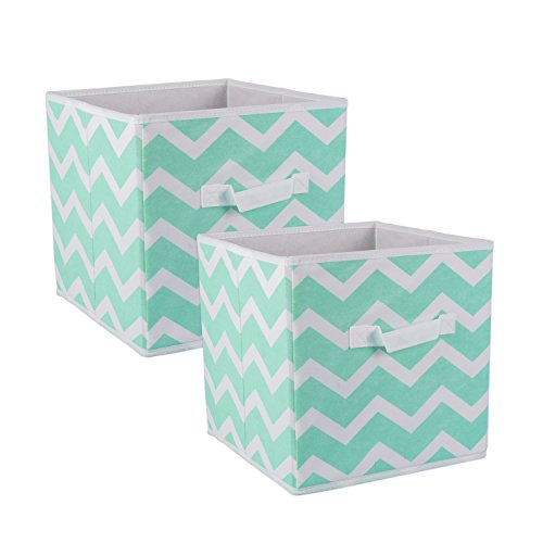 DII Fabric Storage Bins for Nursery, Offices, & Home Organization, Containers Are Made To Fit Standard Cube Organizers (11x11x11″) Chevron Aqua – Set of 2