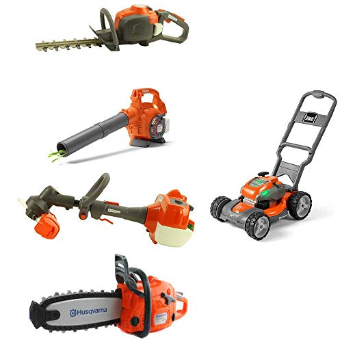 Husqvarna Kids Battery Operated Toy Leaf Blower + Weed Eater + Hedge Trimmer + Chainsaw + Lawn Mower w/ Sound