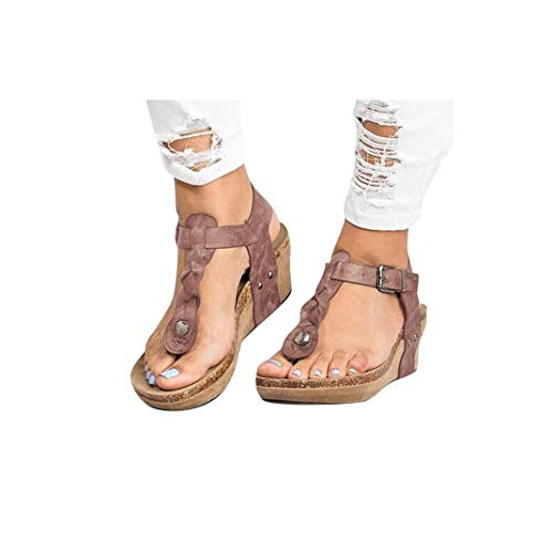 Women's Aditi Low Wedge Dress Sandals Casual Flip Flops Buckle Strap Wedges Sandals Platforms Shoes Brown - Low Wedge Flip Flop