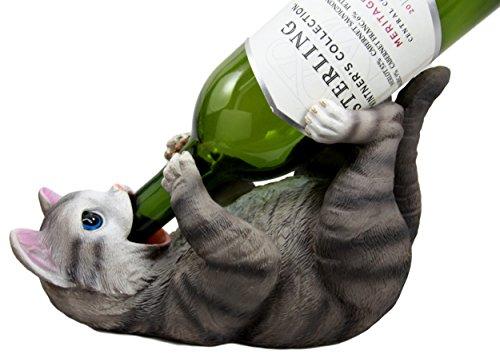Atlantic Collectibles Feline British Shorthair Grey Kitty Cat Wine Bottle Holder Caddy Figurine