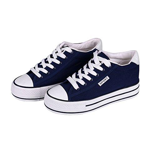 Heel Lace Sneakers Platform Casual Shoes Canvas Classic up Navy Hidden Women Blue Buganda Flat 6CwSUqB