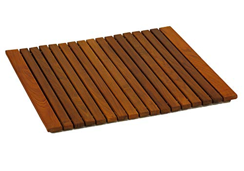 (Bare Decor Lykos String Spa Shower Mat in Solid Teak Wood Oiled Finish, Large)