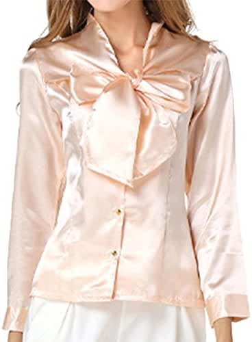 Cekaso Women's Chiffon Blouse Bow Tie V Neck Slim Fit Solid Long Sleeve Blouse