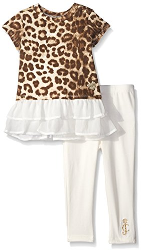 Juicy Couture  Girls' Jersey Crinkle Georgette Top and Vanilla Pants, Vanilla, 4T