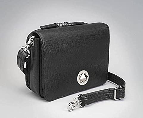 Concealed Carry Purse - Crossbody Organizer by Gun Tote'n Mamas (Black Lambskin) - Lambskin Leather Tote Bag