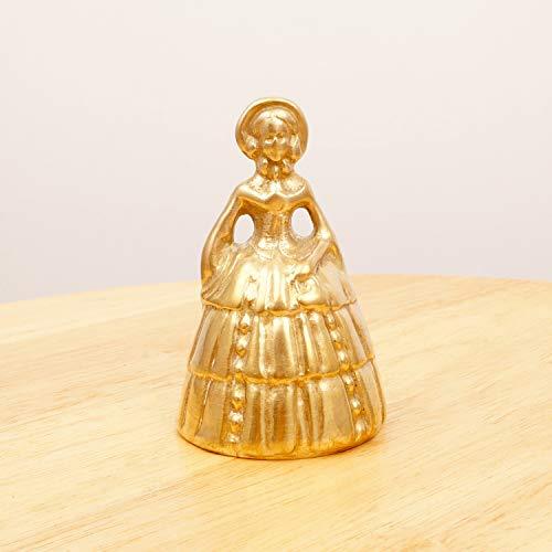 (Restored by UKARETRO Victorian Lady Handbell || Vintage Solid Brass || Hand Bell Dress Bonnet Ornament)