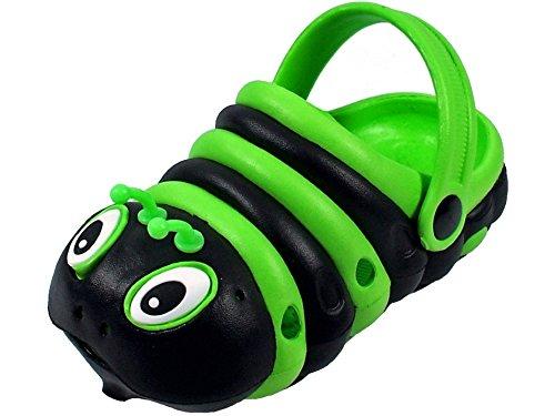 (Kids Girls Boys Animal Clog Summer Shoes Walking Slippers (10 M US Toddler), Black/Green)