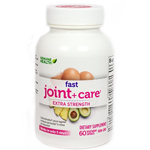 Genuine Health Fast Joint Care+ Clinical Strength, Eggshell Membrane, Natural Rapid Pain Relief, Anti Inflammatory, 60 Capsules
