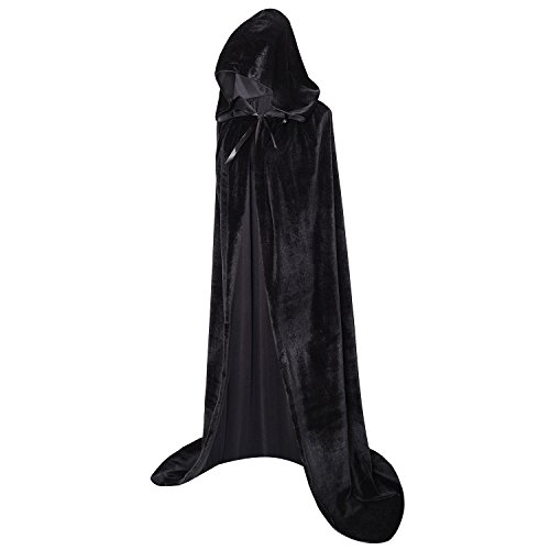 ooded Robe Cloak Long Velvet Cape Cosplay Costume 59