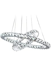 BOKT Crystal Chandeliers Modern LED Ceiling Lights Fixtures Dining Room Pendant Lights Contemporary Chandelier Lighting Adjustable Stainless Steel Cable (B 2R Cool White)