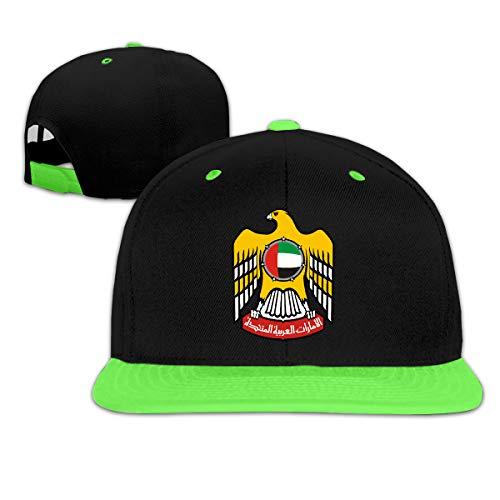 (Childaren Coat of Arms of United Arab Emirates Outdoor Hip Hop Mountaineering Cotton Snapback Cap Adjustable Green)